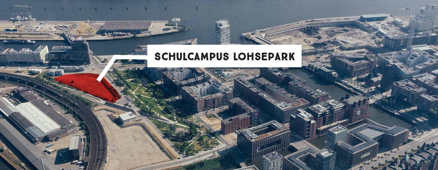 Luftbild des geplanten Schulcampus
